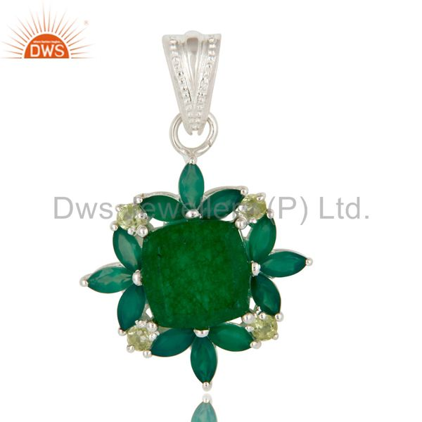 Natural Green Aventurine And Peridot Sterling Silver Gemstone Cluster Pendant