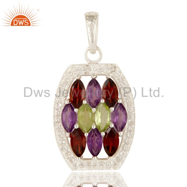 Amethyst, Garnet And Peridot Sterling Silver Cluster Pendant With White Topaz