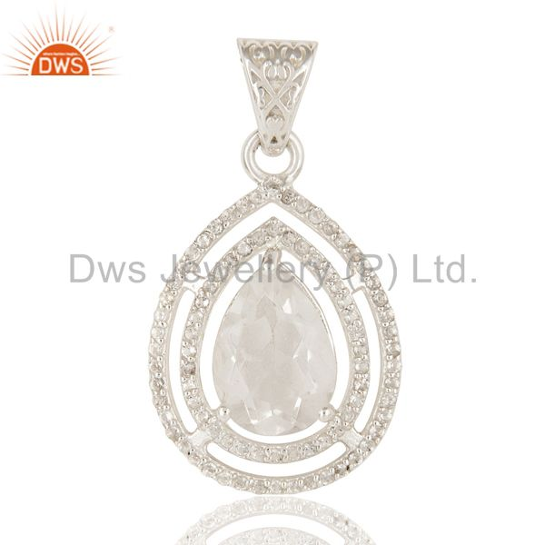 Natural Crystal Quartz And White Topaz  Sterling Silver Prong Set Gemstone Penda