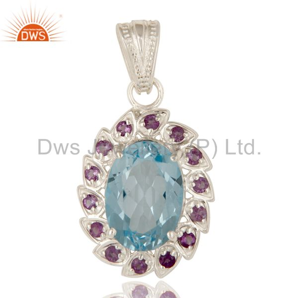 925 sterling silver natural amethyst with blue topaz gemstone cluster pendant