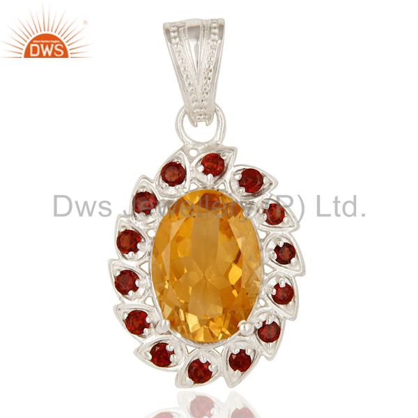 925 Sterling Silver Garnet And Citrine Gemstone Designer Cluster Pendant