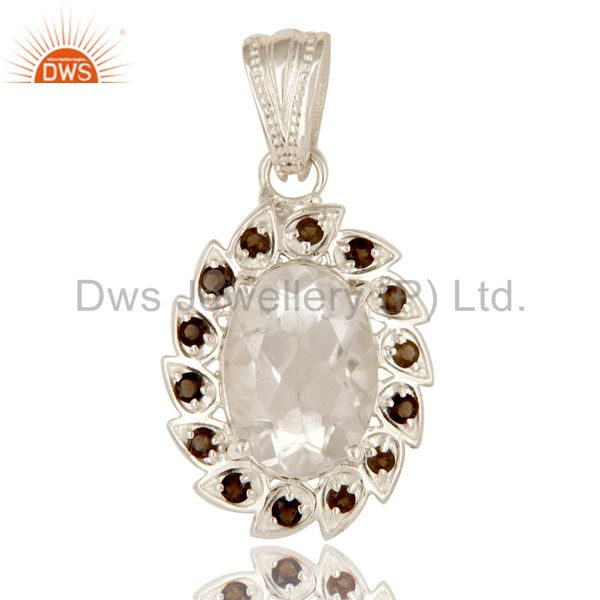 Solid 925 Sterling Silver Smoky Quartz And Crystal Quartz Cluster Pendant