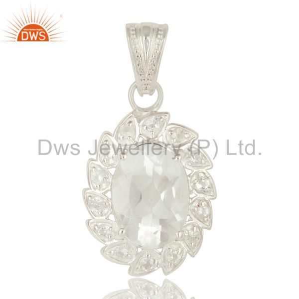 Natural Crystal Quartz And White Topaz Sterling Silver Pendant