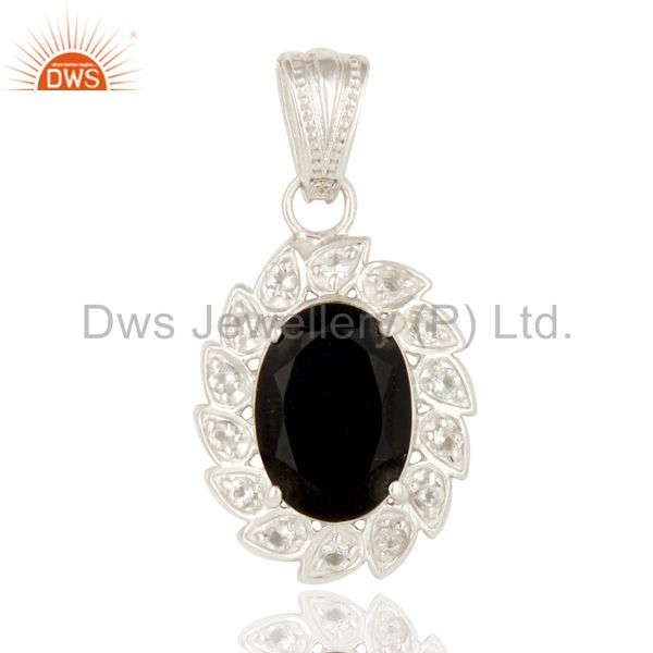 925 Sterling Silver Black Onyx And White Topaz Gemstone Floral Designer Pendant