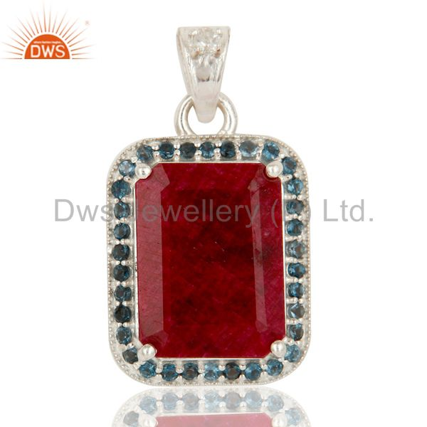 925 Sterling Silver Ruby And Blue Topaz Gemstone Pendant Designer Jewelry