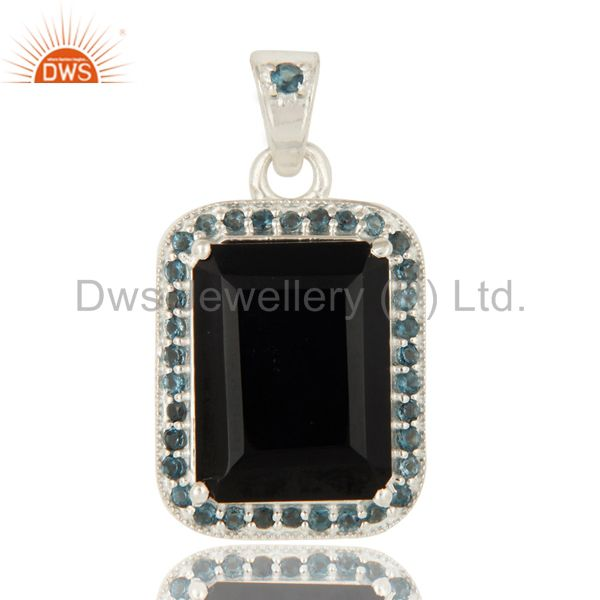 925 Sterling Silver Black Onyx And Blue Topaz Gemstone Pendant Jewelry