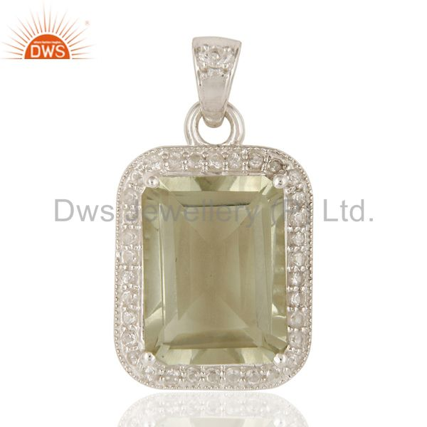 Green Amethyst Gemstone 925 Sterling Silver Prong Set Pendant With White Topaz