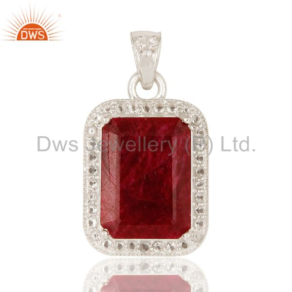 925 sterling silver dued ruby corundum and white topaz gemstone pendant