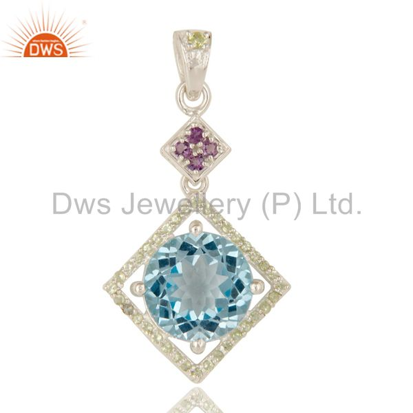 Designer Amethyst, Peridot And Blue Topaz Gemstone Sterling Silver Pendant