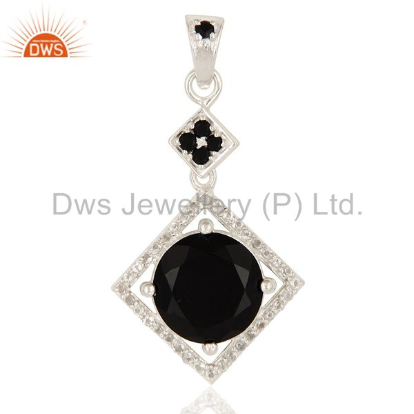 Natural Black Onyx Prong Set 925 Sterling Silver White Topaz Pendant
