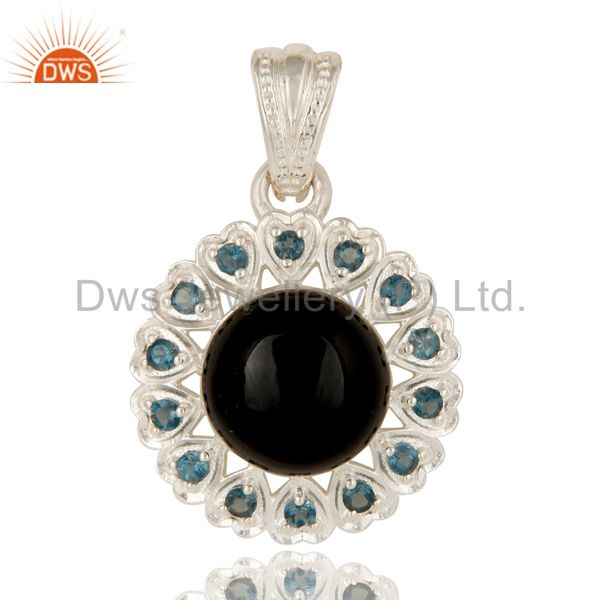 925 Sterling Silver Black Onyx And Blue Topaz Designer Heart Pendant