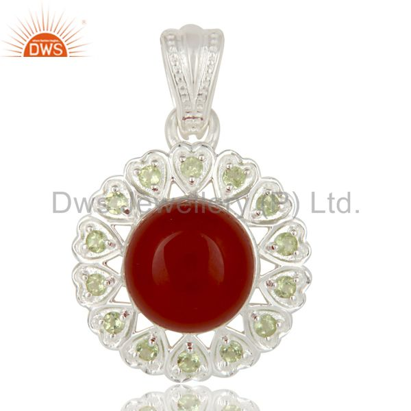 925 Sterling Silver Red Onyx And Peridot Designer Fine Gemstone Pendant