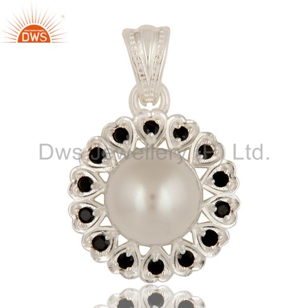 Natural Pearl And Black Onyx Gemstone Solid Sterling Silver Heart Pendant