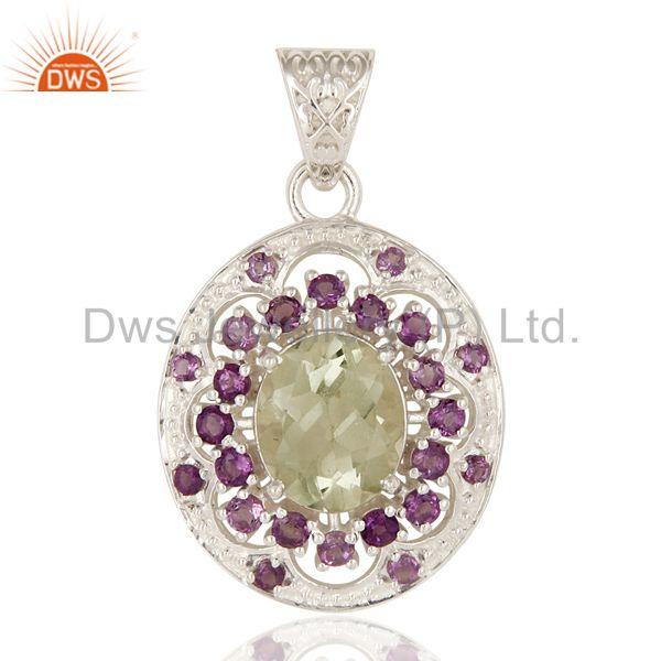 Natural Amethyst And Prasiolite Gemstone Fine Sterling Silver Pendant Jewelry
