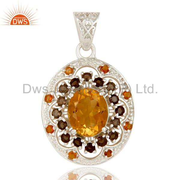 Natural Citrine and Smokey Gemstone Solid Sterling Silver Cluster Pendant