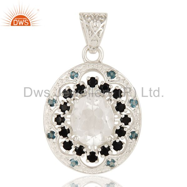 Blue Topaz, Crystal Quartz And Black Onyx Sterling Silver Stone Cluster Pendant