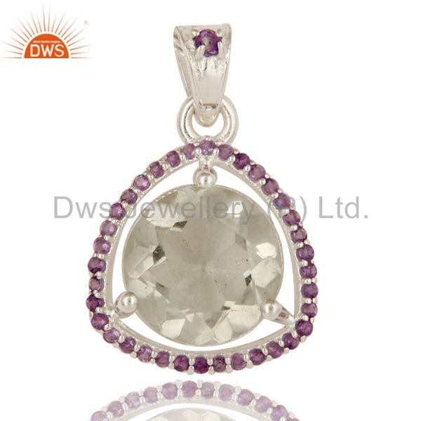 Green Amethyst And Purple Amethyst Sterling Silver Fine Gemstone Pendant