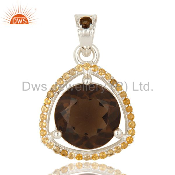 Handcrafted Sterling Silver Citrine And Smoky Quartz Prong Set Pendant