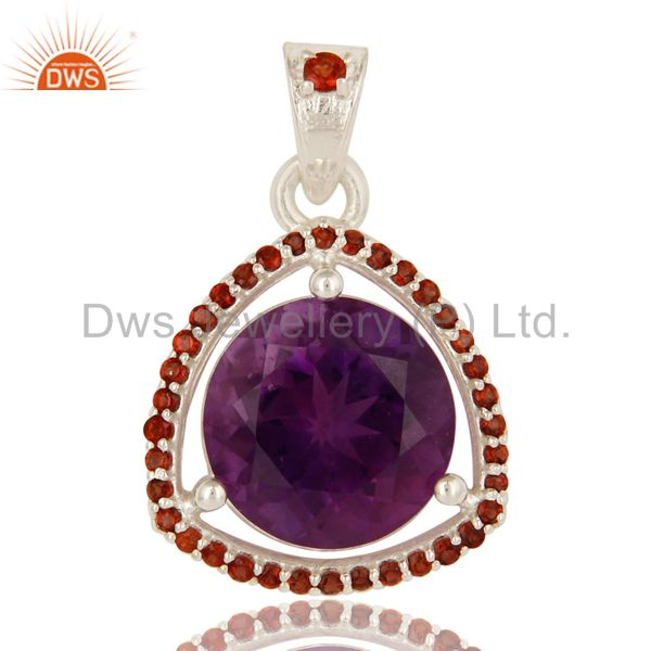 925 Sterling Silver Amethyst 12mm Round And Garnet Prong Set Gemstone Pendant