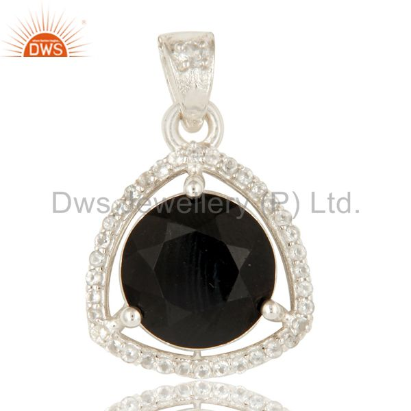 925 Sterling Silver Natural Black Onyx With White Topaz Gemstone Cluster Pendant