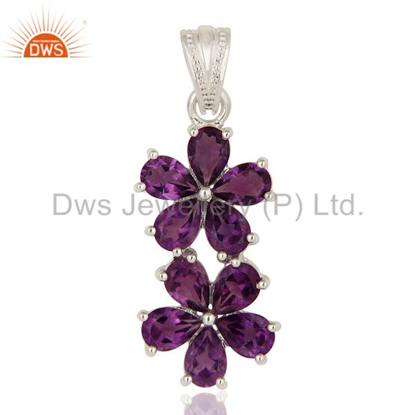 Natural Purple Amethyst 925 Sterling Silver Gemstone Double Flower Pendant