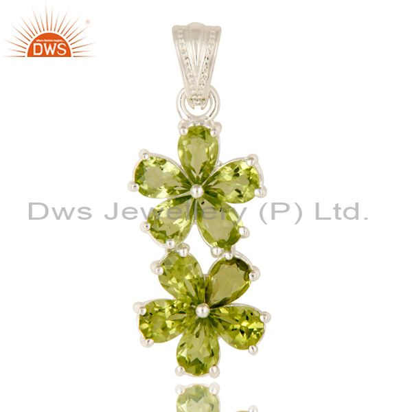 925 Sterling Silver Natural Peridot Gemstone Flower Cluster Pendant
