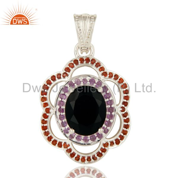 925 sterling silver black onyx and garnet gemstone designer pendant
