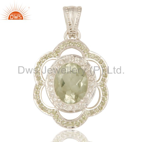 925 Sterling Silver Green Amethyst And Peridot Gemstone Pendant With White Topaz
