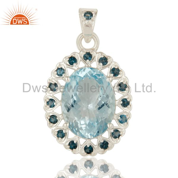 Natural london blue topaz prong set gemstone sterling silver pendant jewelry