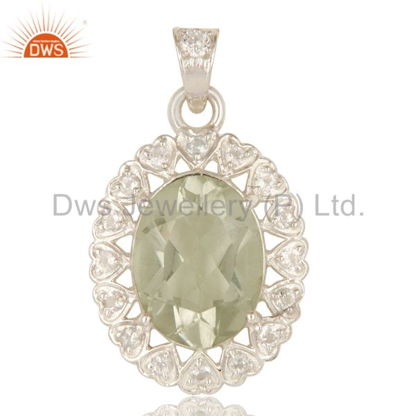 925 Sterling Silver Green Amethyst With White Topaz Gemstone Cluster Pendant