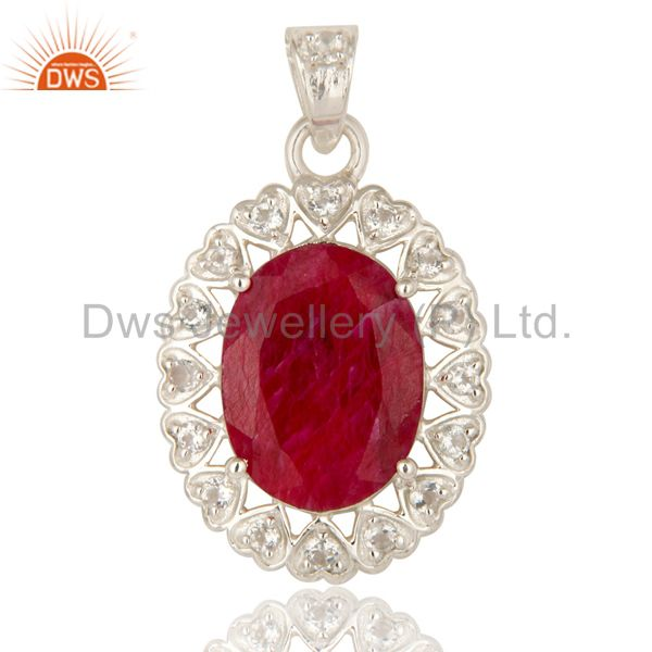 Natural Ruby Corundum Gemstone Sterling Silver Pendant With White Topaz