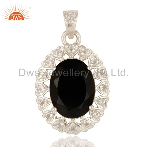Designer Black Onyx And White Topaz Pendant Made In Sterling Silver