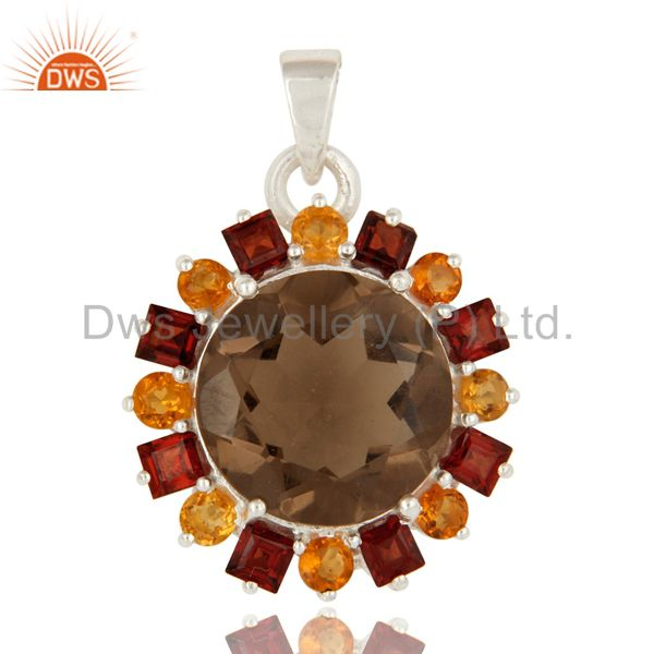 Smoky Quartz, Citrine And Garnet Sterling Silver Gemstone Cluster Pendant Jewelr