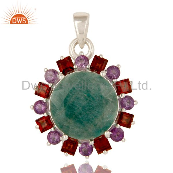 925 Solid Sterling Silver Green Corundum, Amethyst And Garnet Cluster Pendant