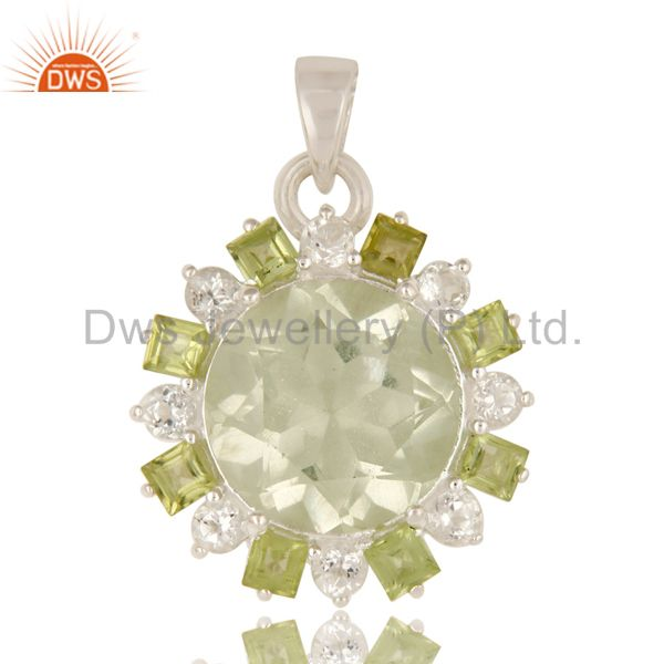 Green Amethyst, Peridot And White Topaz Prong Set Pendant In Sterling Silver