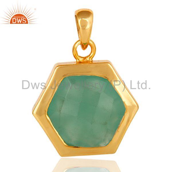 Green Aqua Glass Sterling Silver With 14k Yellow Gold Plating Fashion Pendant