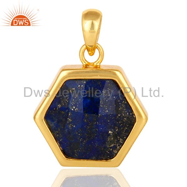 925 Sterling Silver Lapis Lazuli Gemstone Hexagon Shape Pendant With Gold Plated