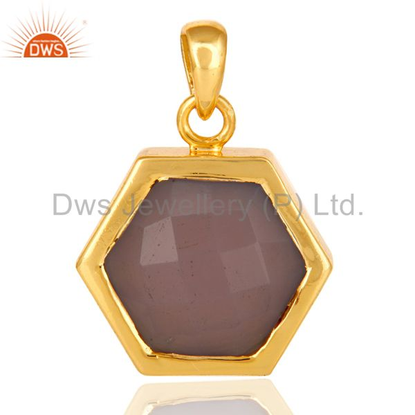 14k yellow gold plated sterling silver pendant with faceted rose quartz