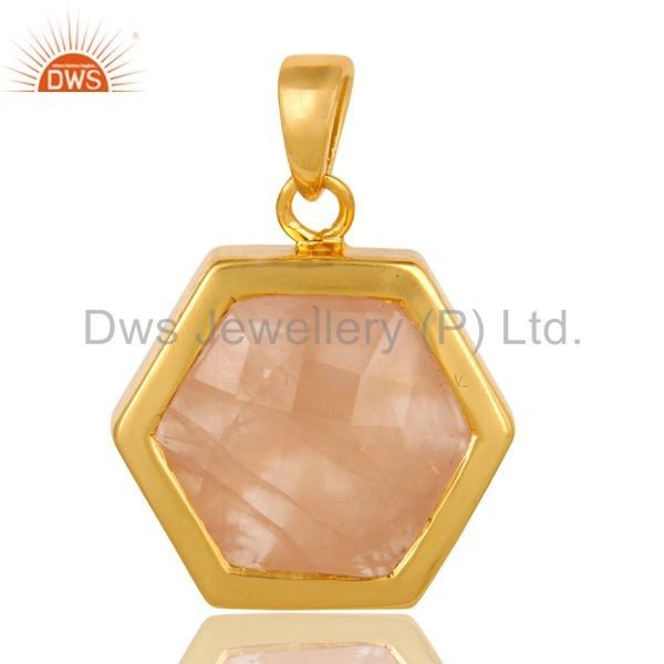 Shiny 14K Yellow Gold Plated Sterling Silver Faceted Rose Quartz Hexagon Pendant