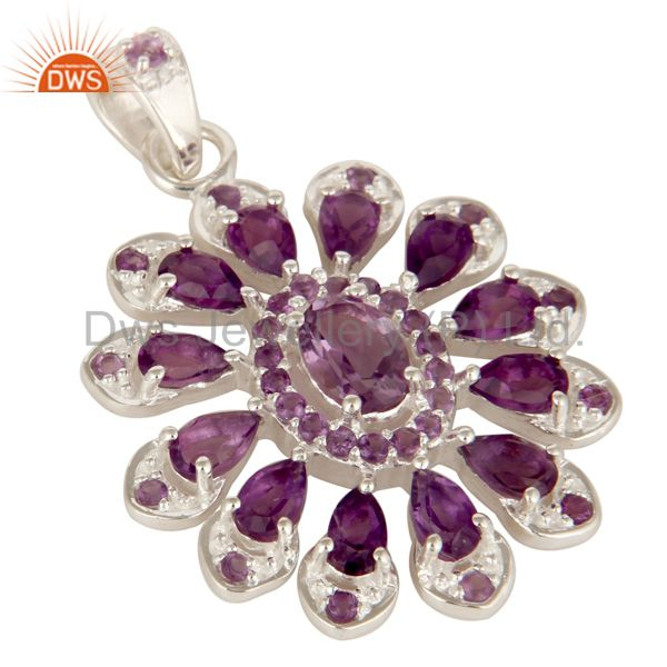 Amethyst Gemstone Cluster Designer Pendant Made In Sterling Silver