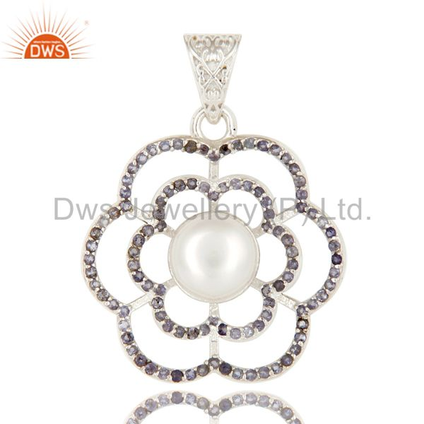 925 Sterling Silver Iolite And White Pearl Designer Pendant