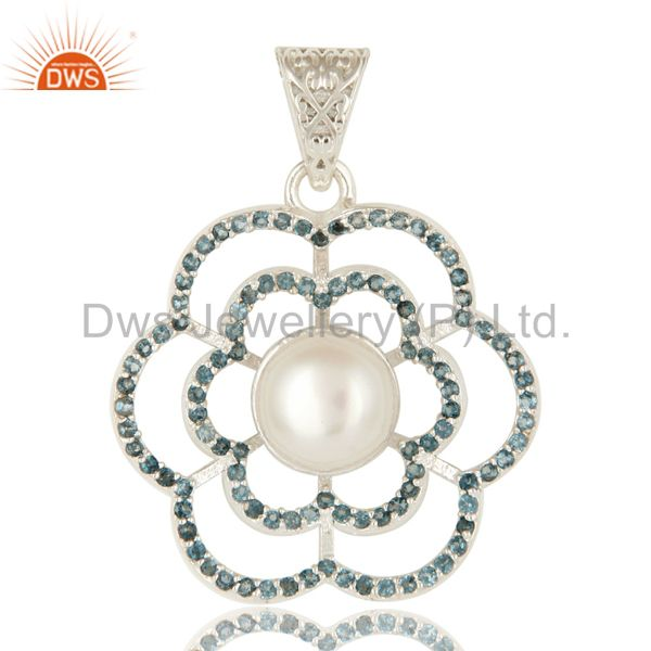 925 Sterling Silver Blue Topaz And White Pearl Designer Pendant