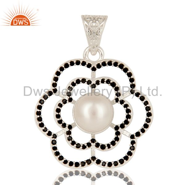 Natural pearl & spinal black 925 sterling silver handmade design drops pendant