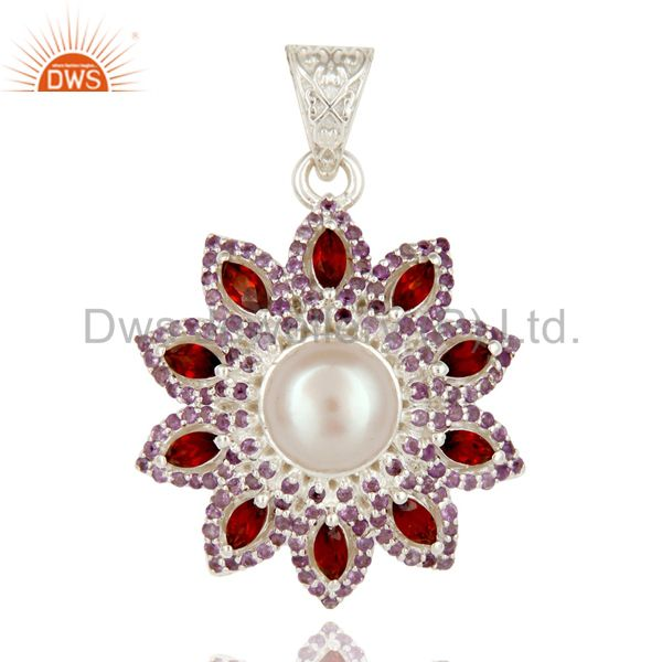 Natural Amethyst, Garnet And White Pearl Sterling Silver Flower Design Pendant