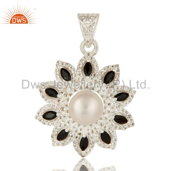 925 Sterling Silver White Pearl, Black Onyx And White Topaz Designer Pendant