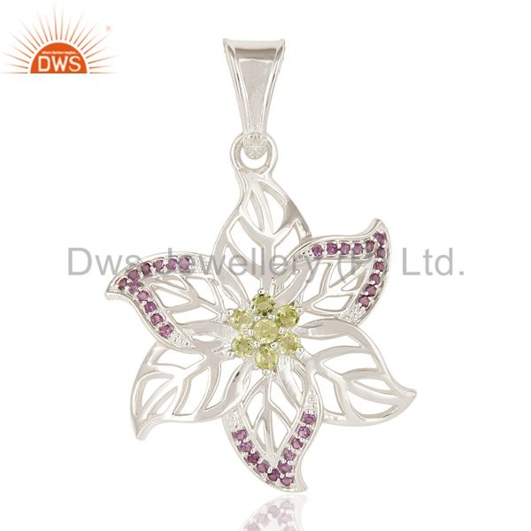 Designer Solid Sterling Silver Amethyst And Peridot Gemstone Leaf Pendant