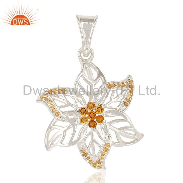 Solid Sterling Silver Citrine Gemstone Floral Designer Pendant Jewelry