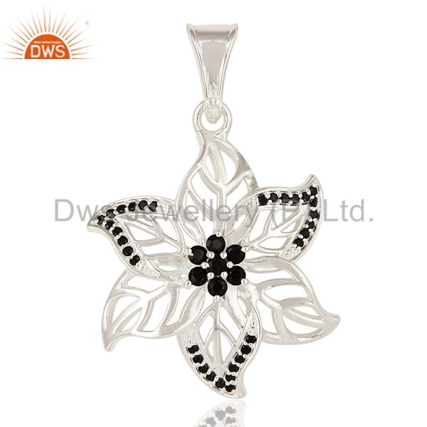 Natural Black Spinel Gemstone Sterling Silver Designer Leaf Pendant Jewelry