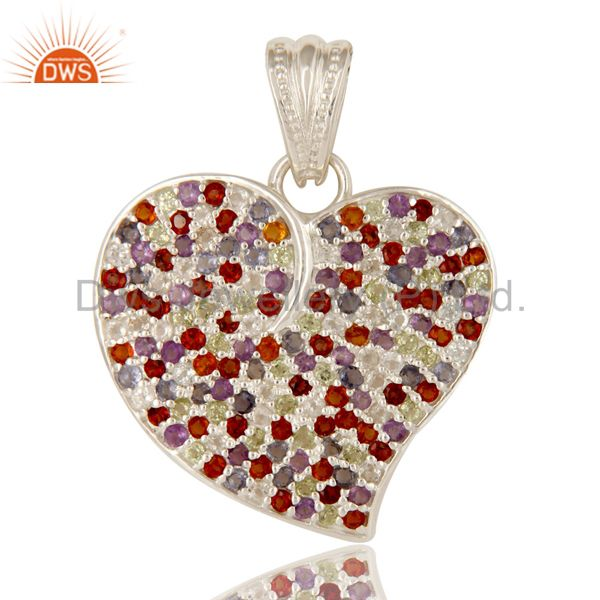 925 sterling silver multi colored gemstone heart designer pendant