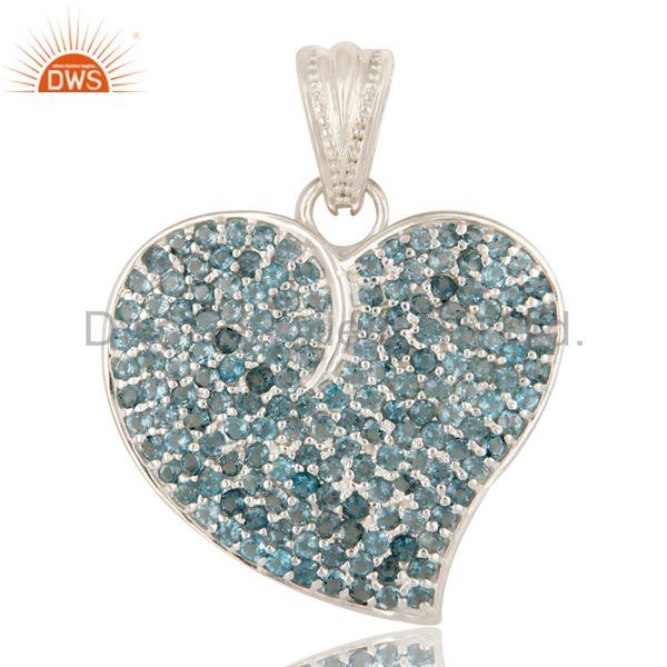 Designer Sterling Silver London Blue Topaz Gemstone Cluster Heart Pendant